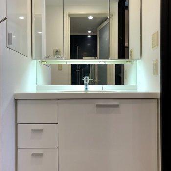 幅の広い洗面台。鏡の裏に洗面用具をすっきりしまえます。