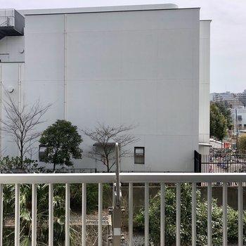 眺望は向かいの建物背面と駐輪場。