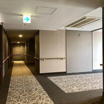 カーペット敷きの共用廊下でホテルのような雰囲気です。