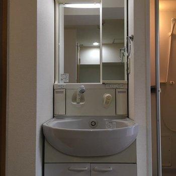 洗面台は玄関入ってすぐのところに(※写真は5階の同間取り別部屋、清掃前のものです)