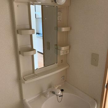 収納ポケット付き洗面台で身支度もスムーズに。※ 写真は前回募集時のものです