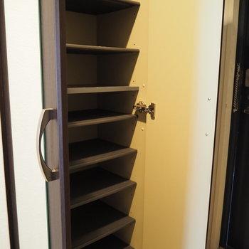 シューズボックスも大容量。扉にはミラーも付いています!※写真は6階反転間取り・別部屋のものです