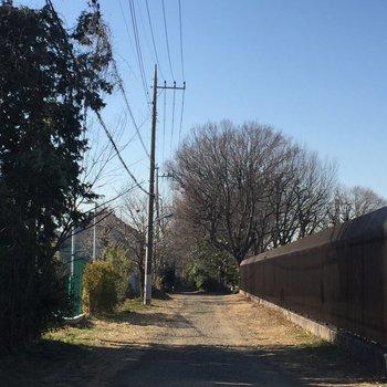 お部屋までは線路沿いの道を歩きます。