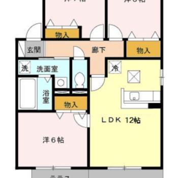 テラス付きの3DKのお部屋。