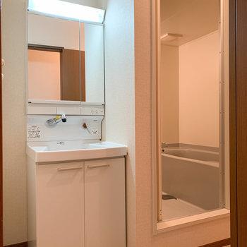 脱衣所に入ると洗面台があります。