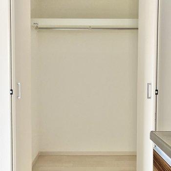 キッチン横に見えたクローゼットは1人暮らしには十分なサイズ感◯