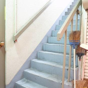 【共用部】ドラッグストア横の通路を進んでいくと階段があります。