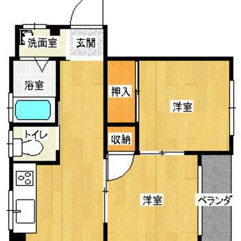 正方形の洋室が2つとDK。水回りはすべて独立していますよ!
