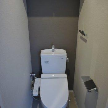 ウォシュレット付きのトイレは収納棚もあり。※写真は同タイプの別部屋