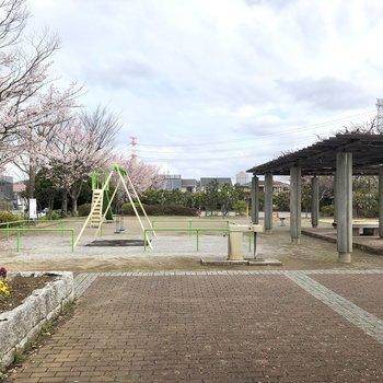 すぐ近くには広い公園も。