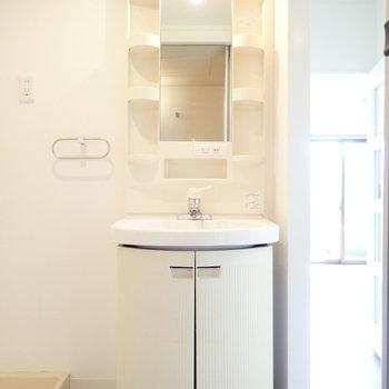 丸くってかわいらしい洗面台。