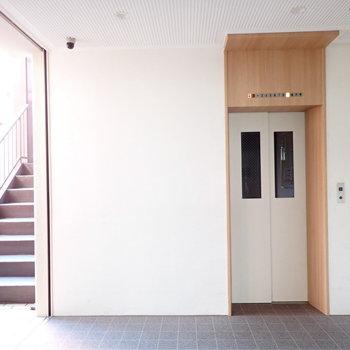 共用部】かわいらしい色使いのエレベーター。