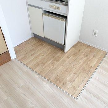 床が変わっていてゾーニングされています。
