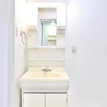 洗面台は棚付きで余分に収納を用意しなくても大丈夫。