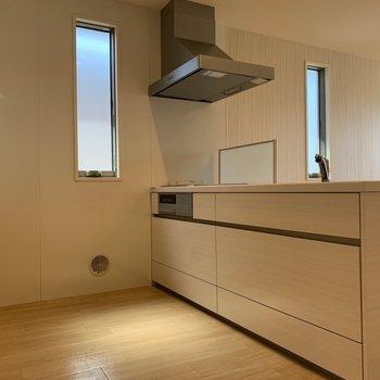 キッチンはシンク向かいに家電を置いても狭くはならなそう。小窓でしっかり換気できます◎