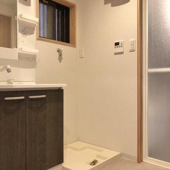 脱衣所は洗面台と洗濯機置き場のこのセット。