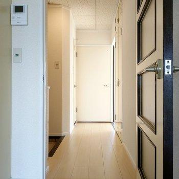 廊下から、サニタリーと洋室に繋がります。