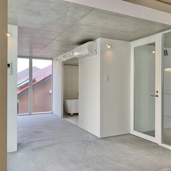 玄関は鏡張り!カーテンが付けられます。