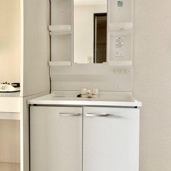 しっかりめの独立洗面台◎(※写真は清掃前のものです)