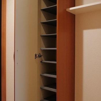玄関収納はたくさん入りそう。※写真は2階の同間取り別部屋のものです