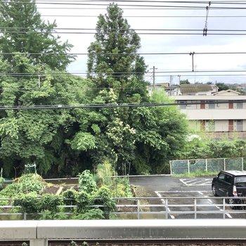バルコニーからの眺望です。自然が多い街並みです。