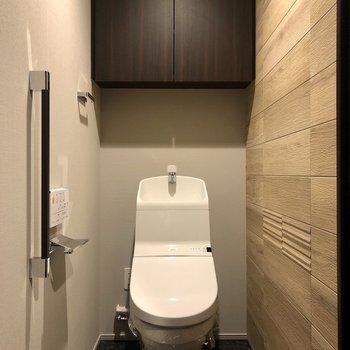 トイレ後ろの棚にストックを収納可能です。