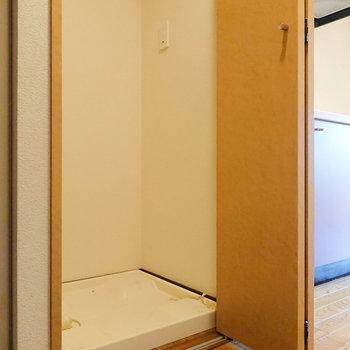 玄関近くに洗濯機置き場。とびらで隠れます。