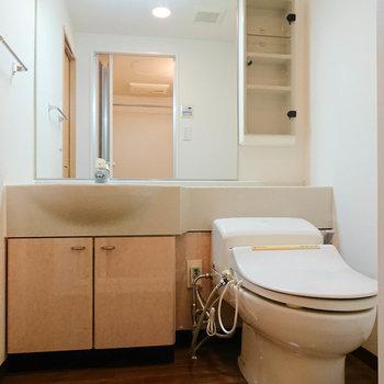 大きな鏡の洗面所。朝の身支度が快適に行えます。