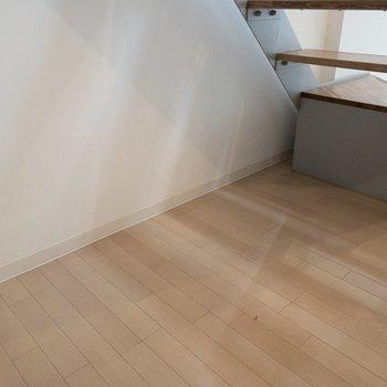 階段下には収納に使えそうなスペースがありますよ。