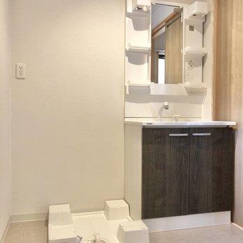 洗面台と洗濯機置き場はセットで脱衣所に。