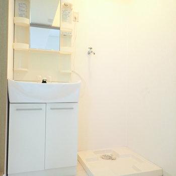 洗面台と洗濯機はおとなりさん。