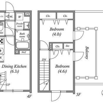 メゾネットタイプの2DKのお部屋です