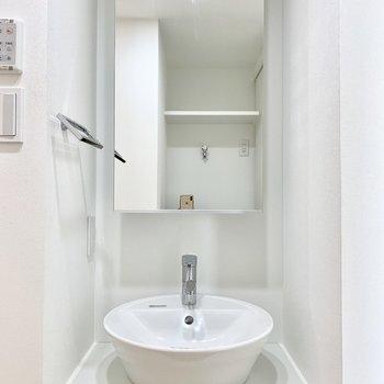 洗面ボウルの上品さ!鏡裏に収納もありますよ。