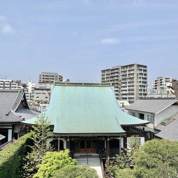 眺望は緑豊かなお寺の境内。