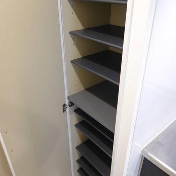 1段につきスニーカー1足ほどの大きさですが、棚の数は多いので10足ほど収納できそう。