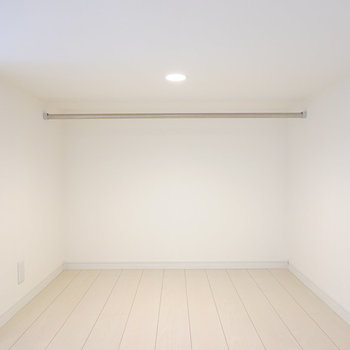 登って左側はハンガーパイプのある収納スペース。寝室にするなら、普段着収納にピッタリですね。