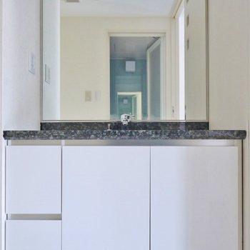スタイリッシュな洗面。※写真は、1107号室のもの