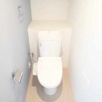 トイレはウォシュレットつき。うしろにペーパーを綺麗に並べたい。