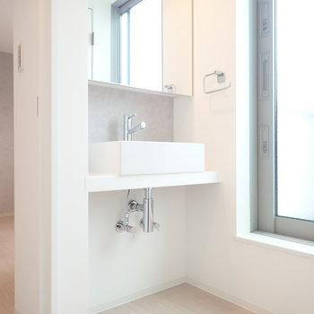 洗面台の下に収納を!右側の扉はベランダです。