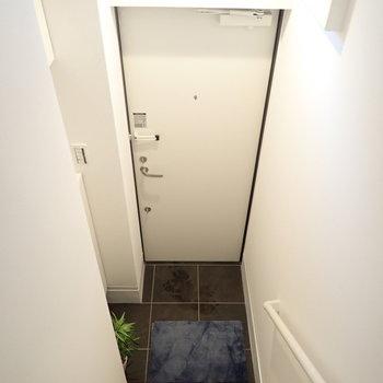 玄関は脱ぎ履きに十分なスペース。上には窓があります。