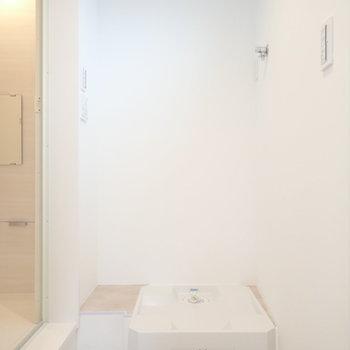 洗濯機は脱衣所にあります。