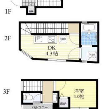 3階建ての、2階と3階が居室部分です。