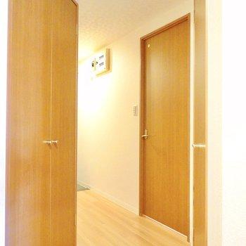 くねっと曲がった廊下。左の扉は先程クローゼットから見えたもの。