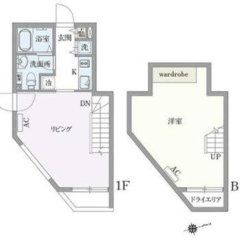 1階と地下のメゾネットです。