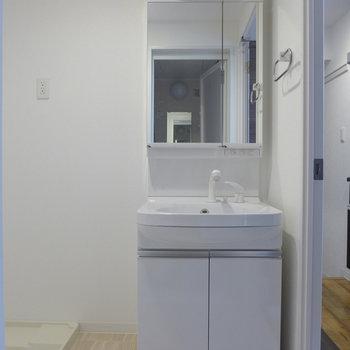 洗面台も大きめ、使い勝手はgoodです。(※写真は5階の同間取り別部屋のものです)