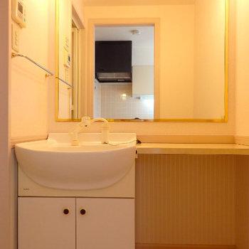 洗面台には大きな鏡と化粧台!(※写真は3階の同間取り別部屋のものです)