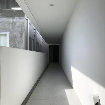 共用廊下は白くてキレイ。