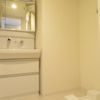 ゆとりのある洗面脱衣所※写真は同間取り別部屋のものです