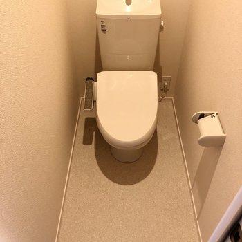 トイレは流すと上から水が出るタイプのもの。すぐ手をすすげますよ。