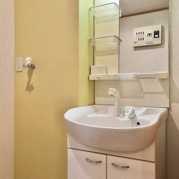 独立洗面台には小物も分けておける棚付きです。